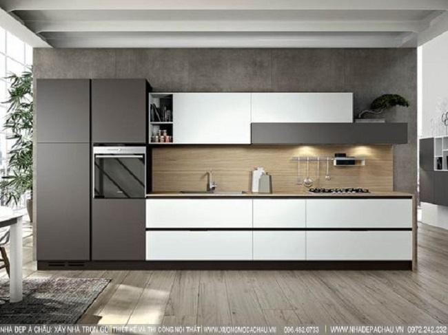 Thiết kế tủ bếp hiện đại tông màu xám