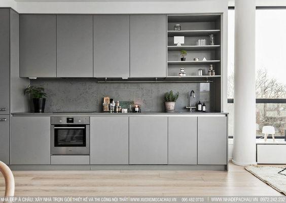 Màu xám trong thiết kế tủ bếp