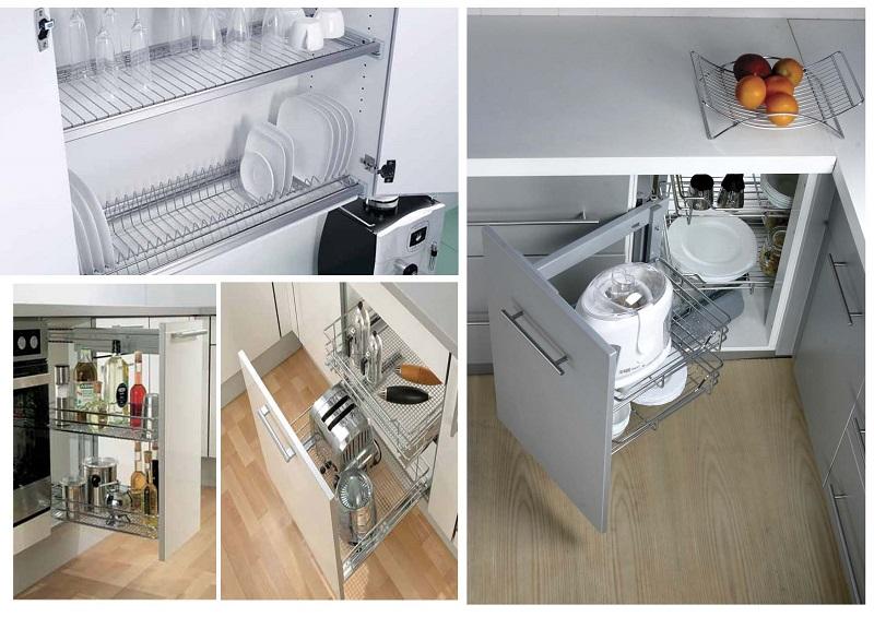 thiết kế nội thất phòng bếp với đầy đủ phụ kiện bên trong tủ