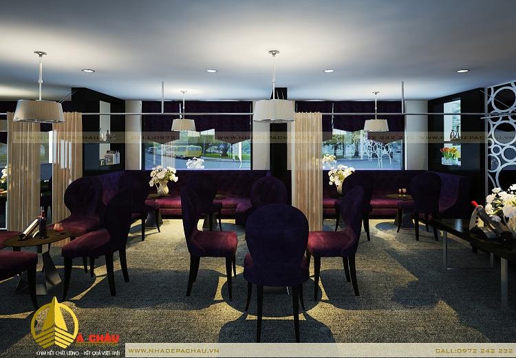 quan cafe đẹp với tone màu tím hiện đại