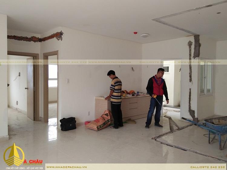 cải tạo phòng khách chung cư chị Lam