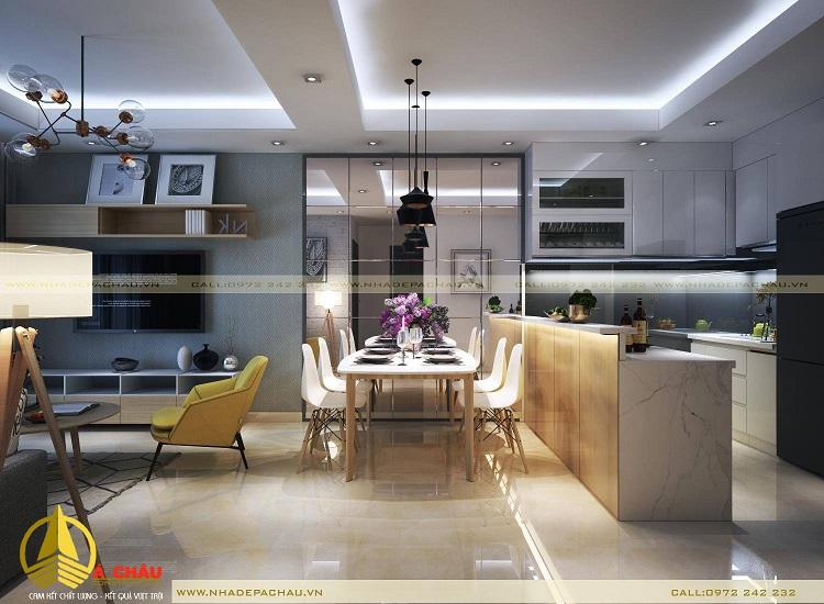 Thiết kế căn hộ chung cư tone màu trắng xám
