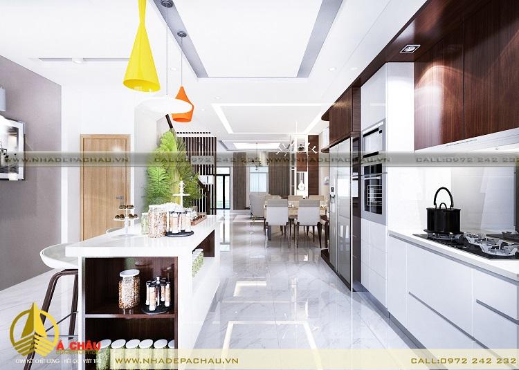 nội thất phòng bếp tone màu xám trắng