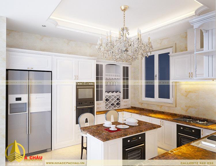 mẫu tủ bếp đẹp nhất thuộc tông màu trắng sáng