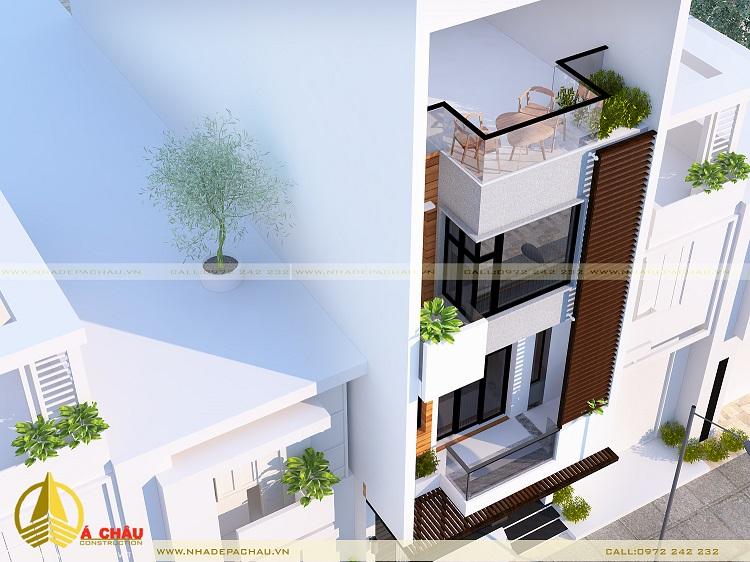 nhà phố đẹp với tone màu xám đen kết hợp với màu gỗ