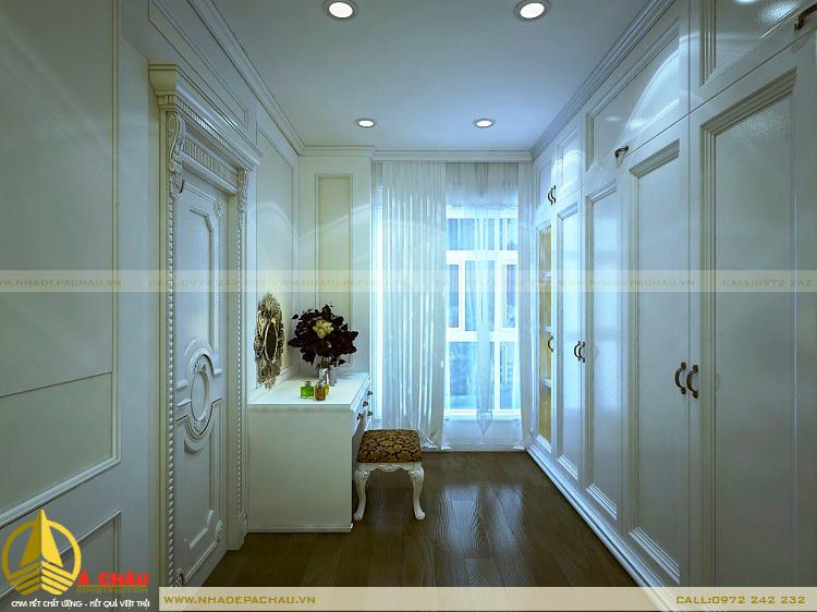 Khu thay đồ phòng ngủ lớn thiết kế với tông màu trắng chủ đạo