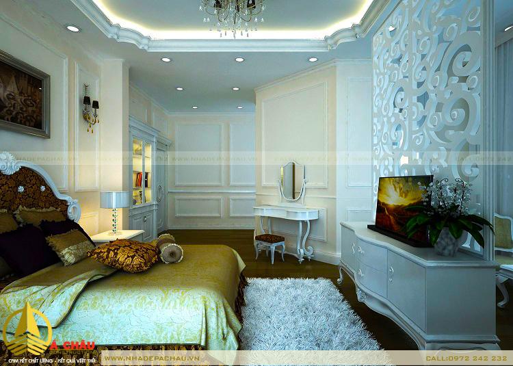 Thiết kế nội thất biệt thự phòng ngủ phong cách tân cổ điển