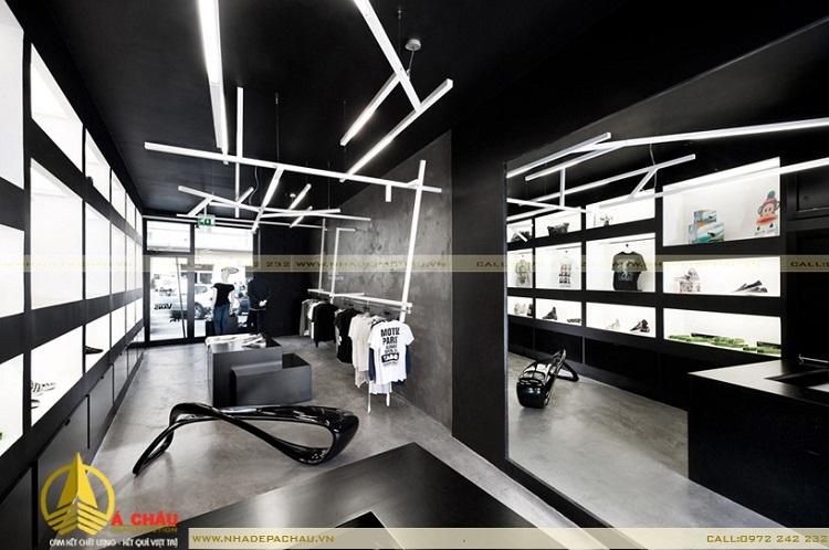 Shop thời trang hiện đại với tone màu trắng đen