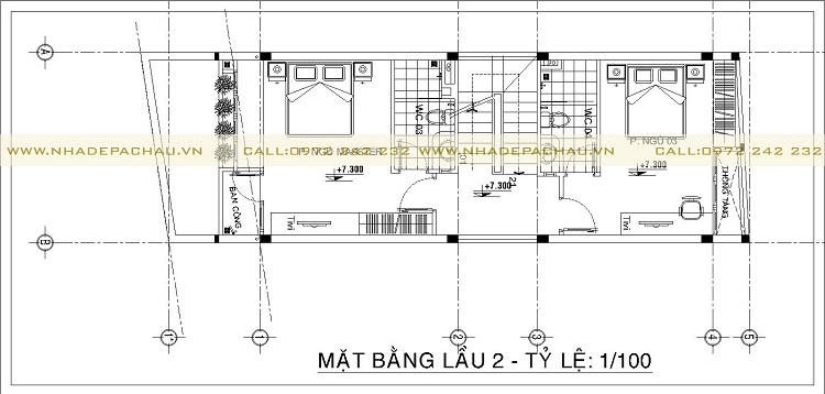 Bố trí mặt bằng tầng 2 kiến trúc nhà phố