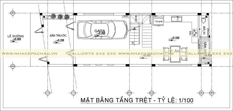 mặt bằng tầng trệt thiết kế nhà phố 5x17