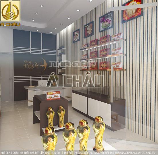 thiết kế và thi  công nội thất shop  yến sào