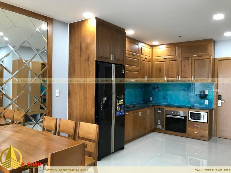 thi công nội thất bếp gỗ sồi tự nhiên