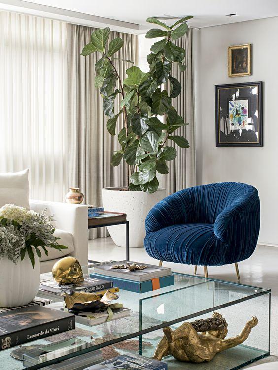 thiết kế không gian phòng khách với mảng xanh