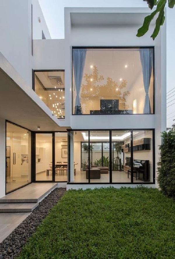 Thiết kế nhà phố đẹp tông màu trắng