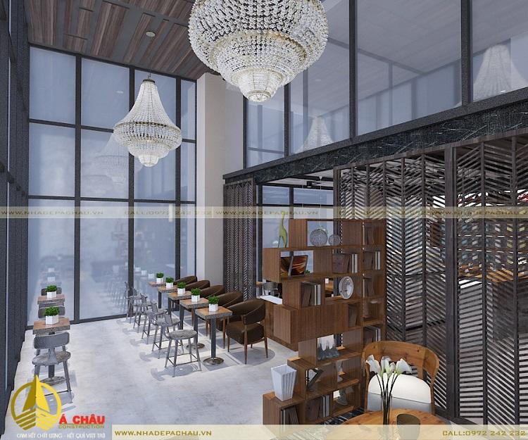 Quán cafe anh Minh được thiết kế với các chất liệu thô mộc