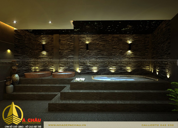 Thiết kế khu jacuzzi tông màu xám