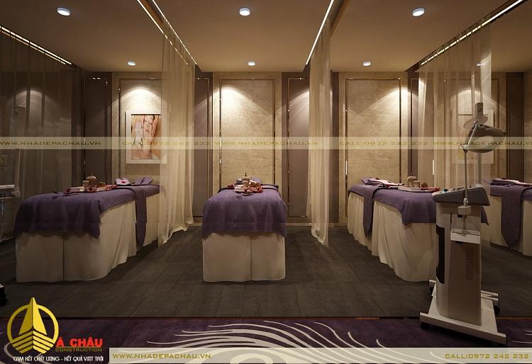 Thiết kế phòng massage body với tông màu tím